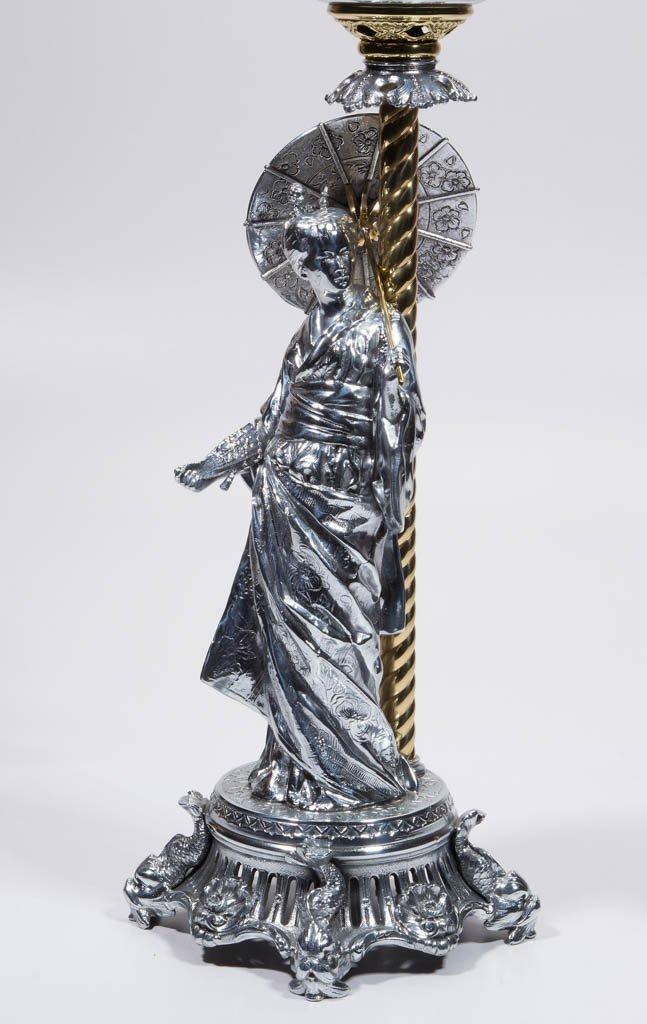 N. MULLER & SONS GEISHA FIGURAL KEROSENE BANQUET LAMP - 3
