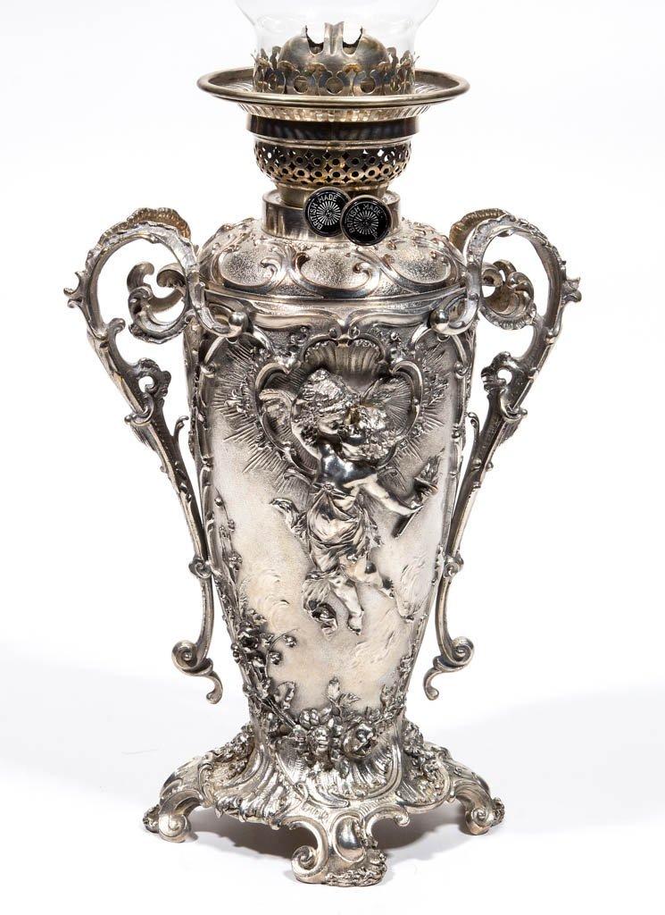 ENGLISH SILVER-PLATE KEROSENE BANQUET LAMP - 2