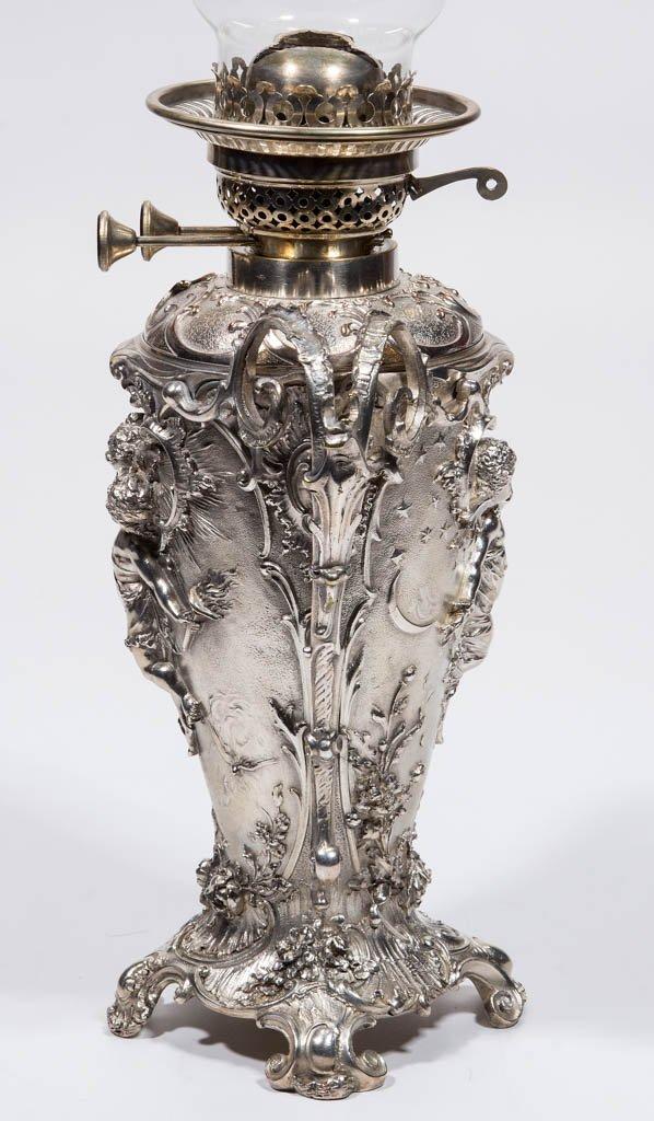 ENGLISH SILVER-PLATE KEROSENE BANQUET LAMP - 3