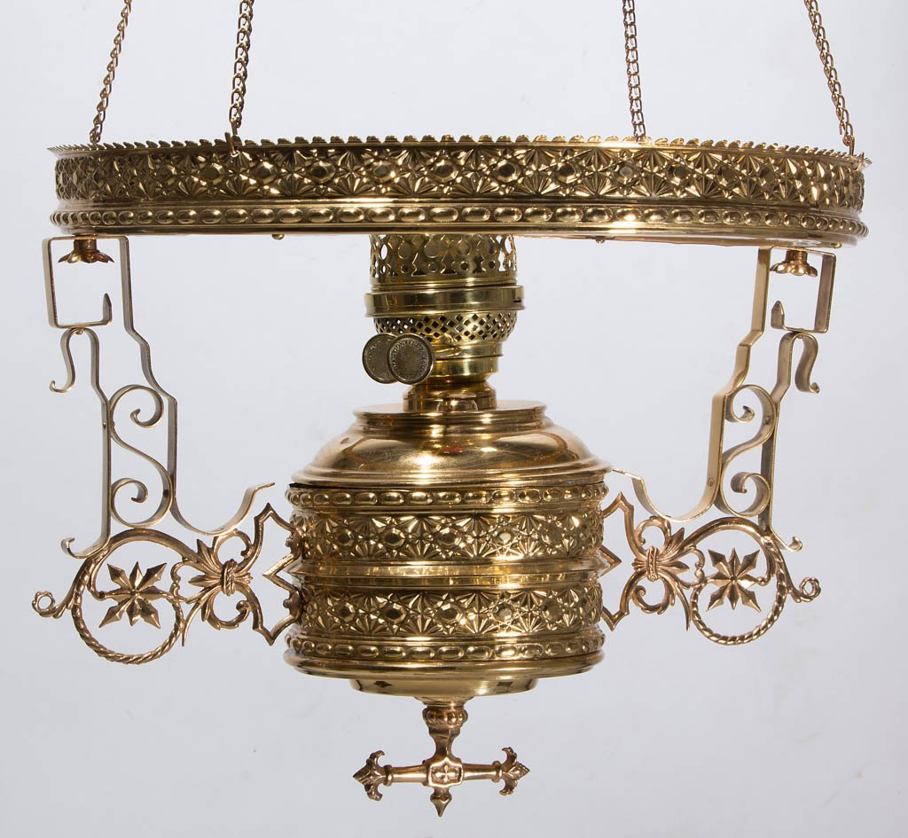 ANSONIA BRASS & COPPER CO. BRASS KEROSENE HANGING - 3