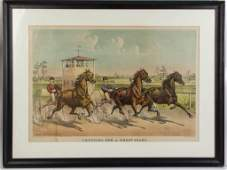 CURRIER  IVES HORSE RACING LARGEFOLIO PRINT