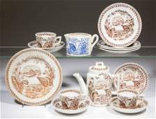 ENGLISH TRANSFER-PRINTED CHILDREN'S TOY CERAMIC TEA AND