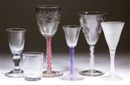 ASSORTED FREE-BLOWN DRINKING VESSLS, LOT OF SIX