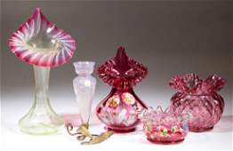 ASSORTED VICTORIAN BLOWN GLASS VASES, LOT OF FOUR