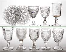ASSORTED PRESSED GLASS ARTICLES, LOT OF TEN