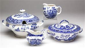 BUFFALO POTTERY BLUE WILLOW CERAMIC SERVING ARTICLES,