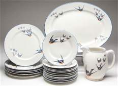 BUFFALO POTTERY  CHINA BLUEBIRD CERAMIC TABLE