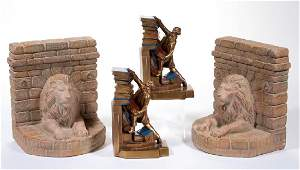 FIGURAL BOOKENDS TWO PAIR