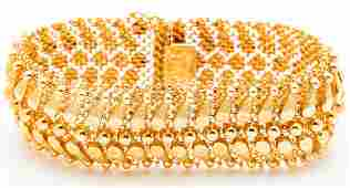 Lady's Vintage, 18K Yellow Gold Woven Mesh Italian