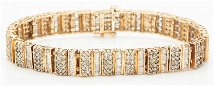 14K Yellow Gold and Diamond Link Bracelet