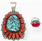Stunning Navajo Pendant Sterling Silver Turquoise and