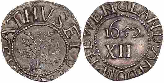 1652 Massachusetts Oak Tree Shilling IN at Bottom Noe-4