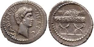 Octavian. Silver Denarius (4.19 g), 42 BC