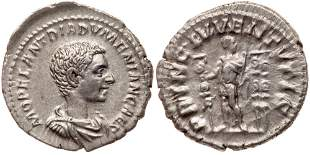 Diadumenian. Silver Denarius (3.45 g), as Caesar, AD