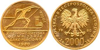 """Poland. Proba """"Pattern"""" 2000 Zlotych, 1980-MW"""