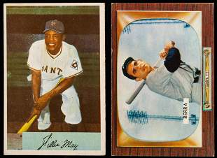 Baseball Cards: 1954 Bowman Willie Mays #89 and 1955