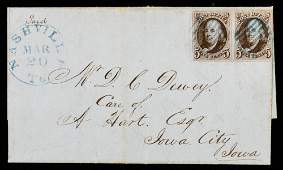 1847, 5¢ Pair On Attractive 1848 Folded Letter
