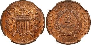 1864 Two Cents. Small motto