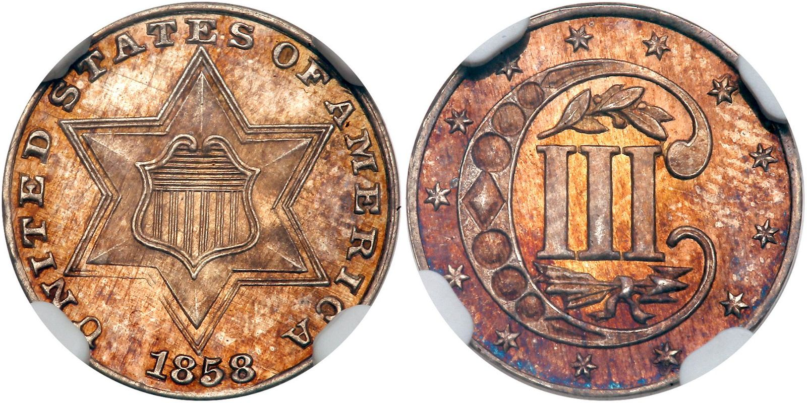1858 Silver Three Cents