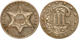 1862 Silver Three Cents