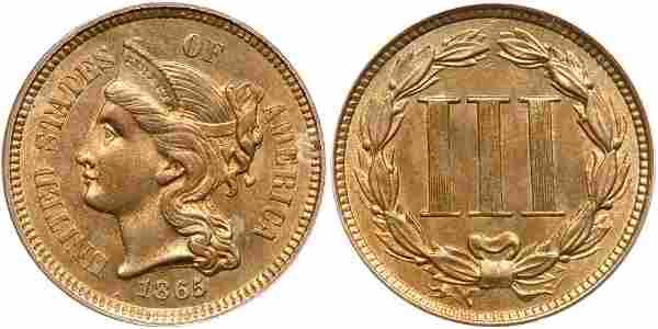 1865 Nickel Three Cents