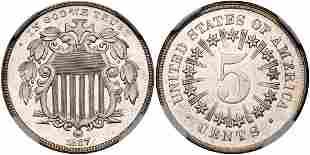 1867 Shield Nickel. Rays