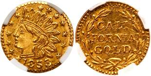1853-Dated California Gold Token, Indian - Wreath #8,