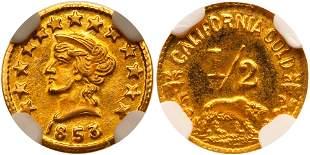 1853-Dated California Gold Token, Liberty - Bear #2d,
