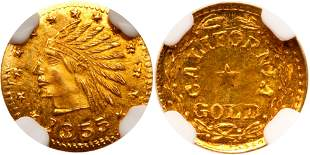 1855-Dated California Gold Token, Indian - Wreath #4a,
