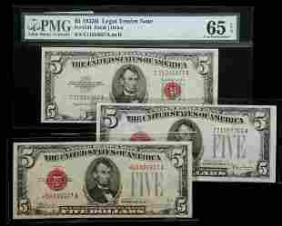 A Trio of Crisp Uncirculated Red Seal $5.00 Notes