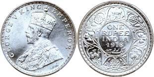 India. Rupee, 1918 (b)