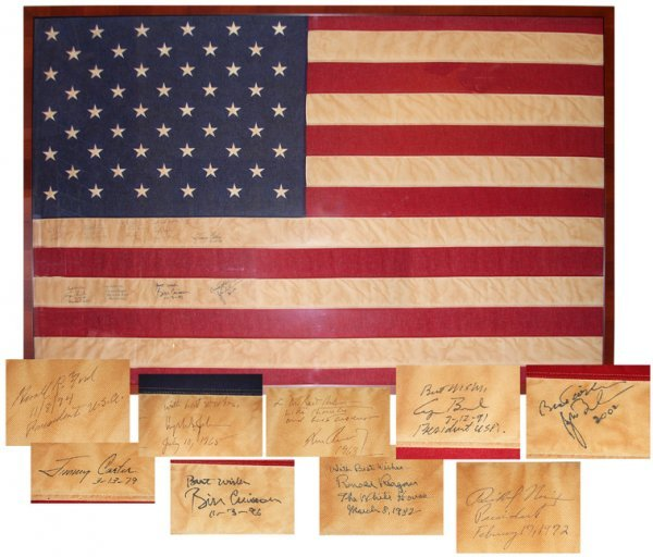 32: (Presidents) Flag Signed by Nine Presidents -- John