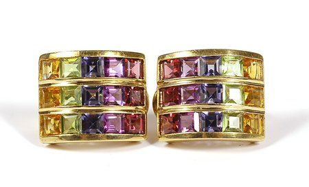 Pair of Multi Colored Stone, 18K Yellow Gold Earri