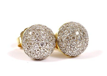 Pair of Pave Diamond, 14K Yellow Gold Stud Earring