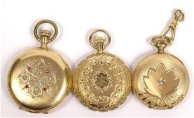 310 Collection of 3 14K Yellow Gold Ladys Pocket Watc