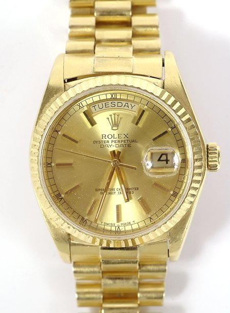 315: Gent's Rolex Oyster Perpetual Day Date, 18K Yellow