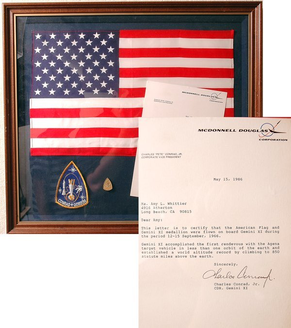387: Gemini 11, 1966, FLOWN US FLAG AND Gold-plated Ste