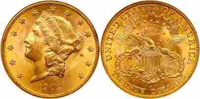 1903-S $20 Liberty. NGC MS65