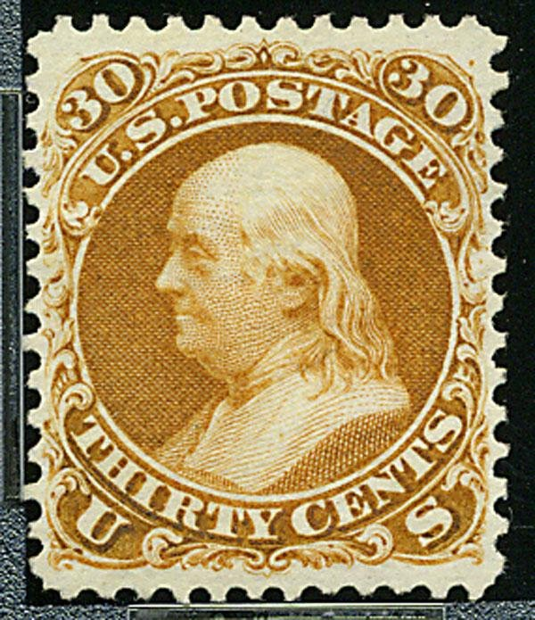3: 1875 Re-issue of 1861-67 issue, 30c brownish orange.