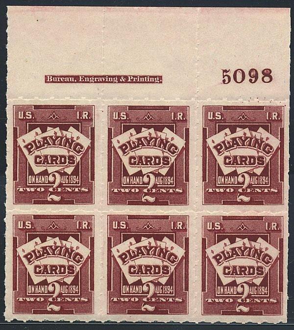 6: Playing Cards, 1894, 2c lake. VF-XF