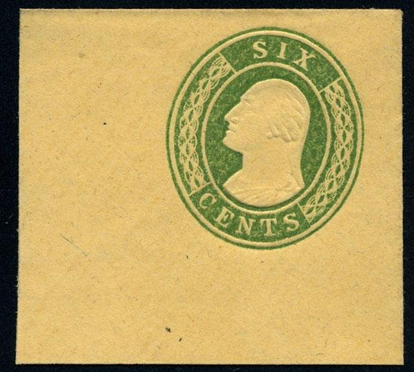7: Envelope, 1853, 6c red and 6c green. XF-Sup