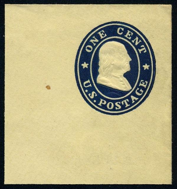 9: Envelope, 1860, 1c blue on orange, die 2 and 1c blue