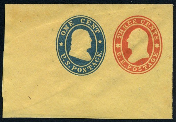 10: Envelope, 1860, 3c+1c red & blue and 3c+1c red & bl