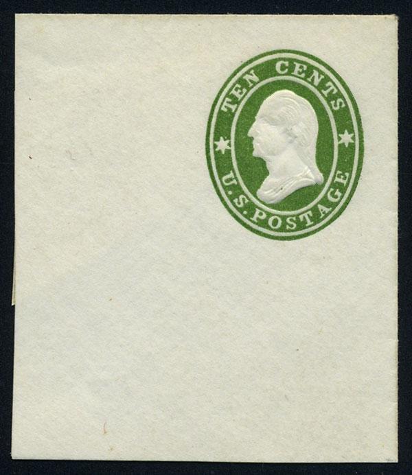 11: Envelope, 1860, 10c green. XF-Sup