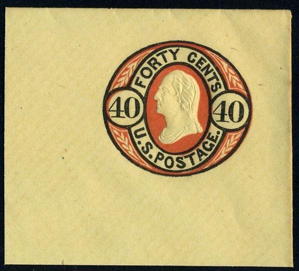 12: Envelope, 1861, 12c-40c bicolors. XF-Sup