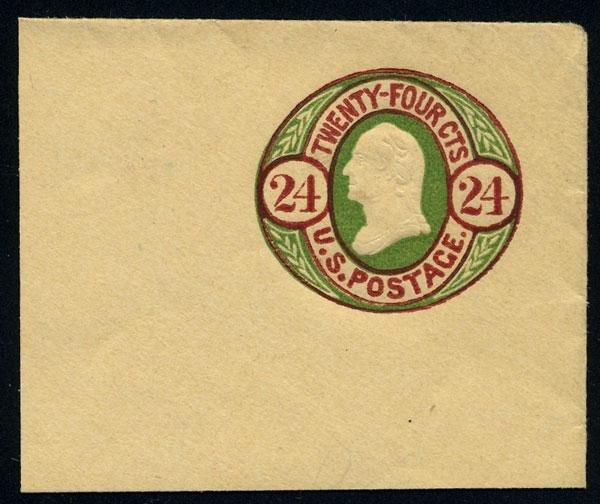 13: Envelope, 1861, 24c lake & green on salmon. XF-Sup