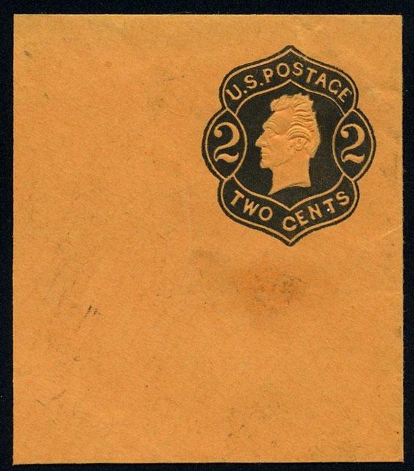 14: Envelope, 1863, 2c black on orange, die 2. VF-XF