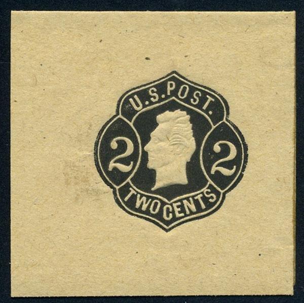 15: Wrapper, 1864, 2c black on buff, die 3. XF-Sup