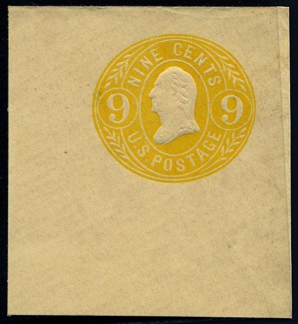 16: Envelope, 1865, 9c lemon on buff, 9c orange on buff