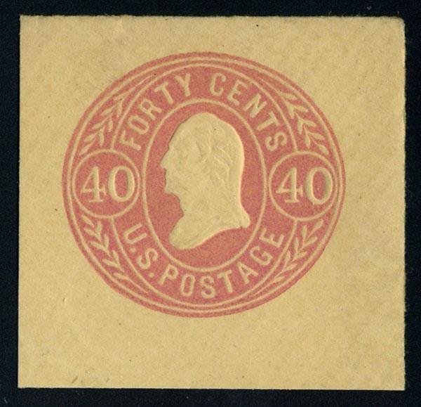 17: Envelope, 1865, 12c-40c values. XF-Sup